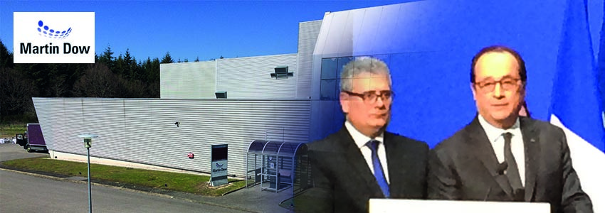 François Hollande inaugure l'usine Martin Dow à Meymac (19)