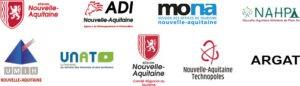 Logos Nouvelle-Aquitaine, ADI, MONA, NAHPA, UMIH, UNAT, CRT, Nouvelle-Aquitaine Technopoles, ARGAT